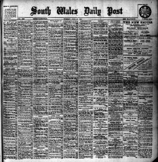 cover page of South Wales Daily Post published on July 18, 1905