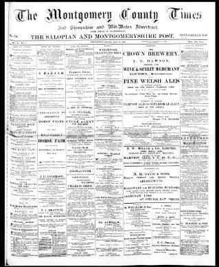 cover page of Montgomery County Times and Shropshire and Mid-Wales Advertiser published on April 18, 1896