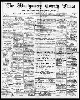 cover page of Montgomery County Times and Shropshire and Mid-Wales Advertiser published on May 15, 1897