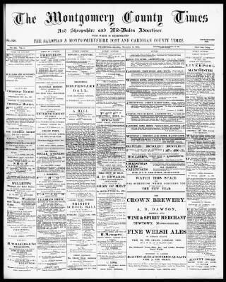cover page of Montgomery County Times and Shropshire and Mid-Wales Advertiser published on December 18, 1897
