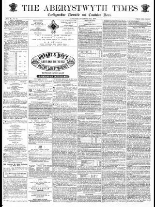 cover page of Aberystwyth Times published on November 27, 1869