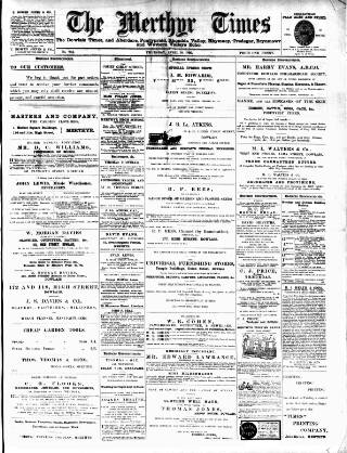 cover page of Merthyr Times, and Dowlais Times, and Aberdare Echo published on April 18, 1895