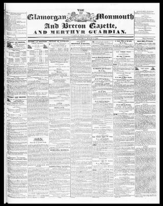cover page of Cardiff and Merthyr Guardian, Glamorgan, Monmouth, and Brecon Gazette published on March 19, 1836