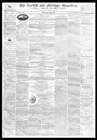 cover page of Cardiff and Merthyr Guardian, Glamorgan, Monmouth, and Brecon Gazette published on March 26, 1853