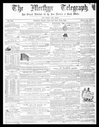 cover page of Merthyr Telegraph, and General Advertiser for the Iron Districts of South Wales published on July 17, 1858