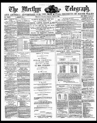cover page of Merthyr Telegraph, and General Advertiser for the Iron Districts of South Wales published on June 3, 1881