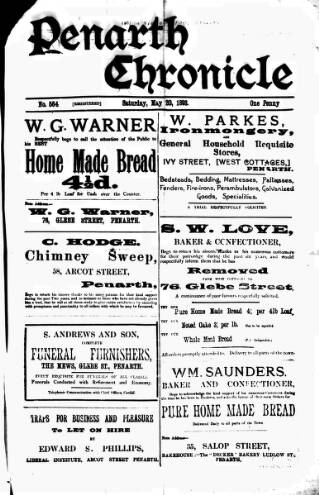 cover page of Penarth Chronicle and Cogan Echo published on May 20, 1893