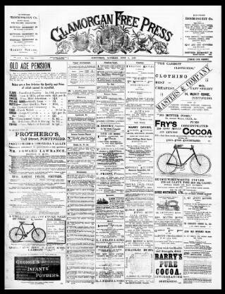 cover page of Glamorgan Free Press published on June 3, 1899
