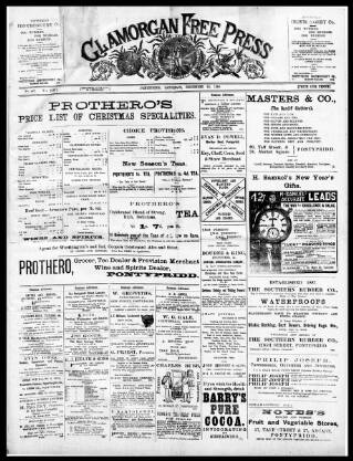 cover page of Glamorgan Free Press published on December 23, 1899