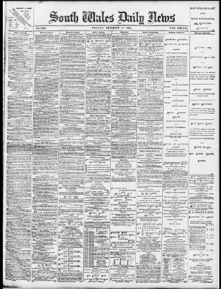 cover page of South Wales Daily News published on October 18, 1895