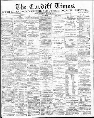 cover page of Cardiff Times published on October 19, 1872