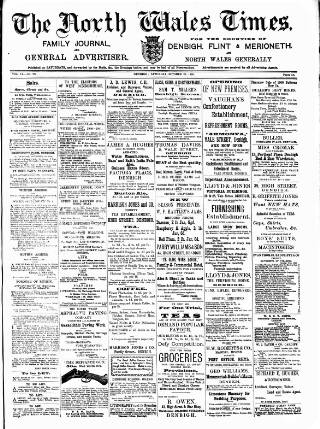 cover page of North Wales Times published on October 20, 1900