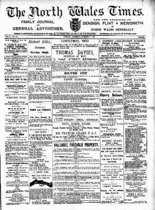 cover page of North Wales Times published on December 15, 1900
