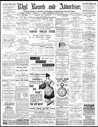 cover page of Rhyl Record and Advertiser published on June 4, 1887
