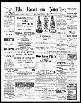 cover page of Rhyl Record and Advertiser published on April 18, 1896