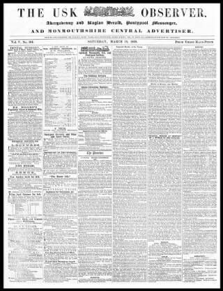 cover page of Usk Observer, Raglan Herald, and Monmouthshire Central Advertiser published on March 19, 1859