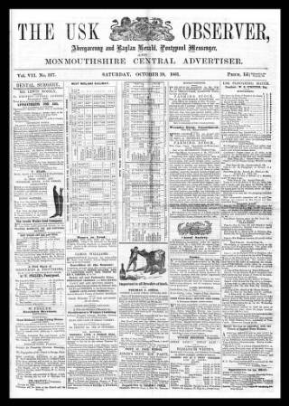 cover page of Usk Observer, Raglan Herald, and Monmouthshire Central Advertiser published on October 19, 1861