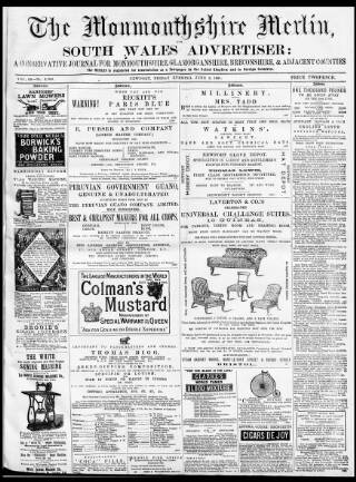 cover page of Monmouthshire Merlin published on June 3, 1881