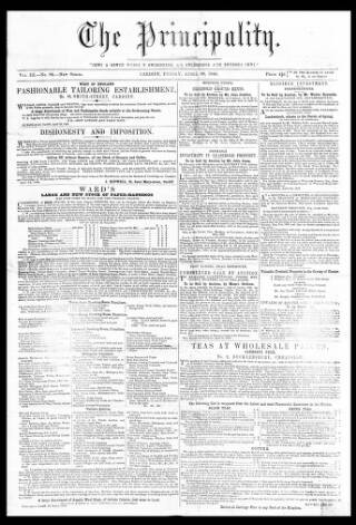 cover page of The Principality published on April 20, 1849