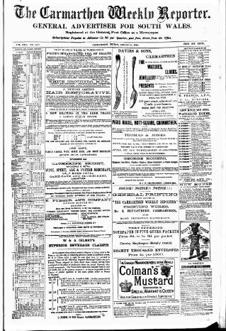 cover page of Carmarthen Weekly Reporter published on August 18, 1882