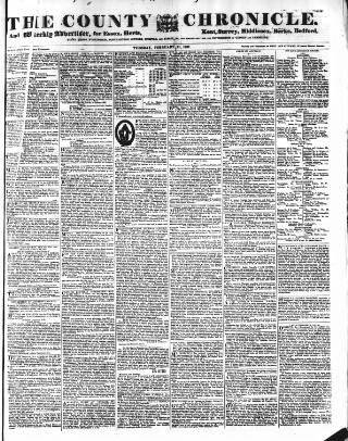 cover page of County Chronicle, Surrey Herald and Weekly Advertiser for Kent published on February 21, 1837