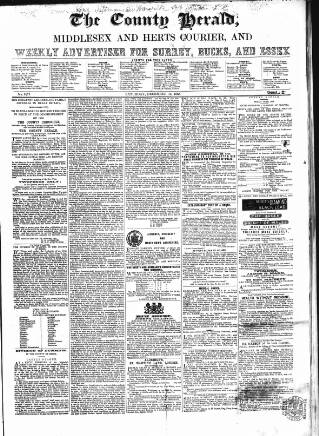 cover page of County Chronicle, Surrey Herald and Weekly Advertiser for Kent published on December 16, 1865
