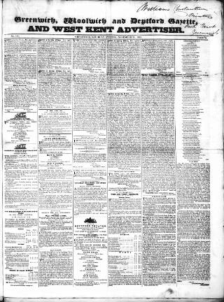 cover page of Kentish Mercury published on November 21, 1835