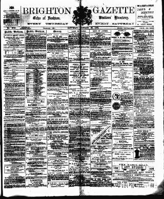 cover page of Brighton Gazette published on January 20, 1883
