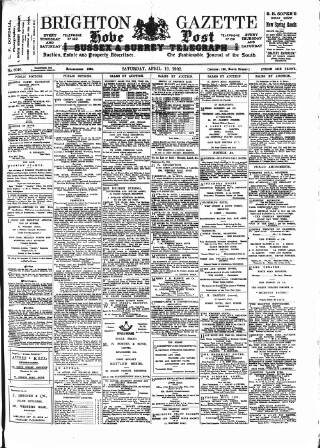 cover page of Brighton Gazette published on April 19, 1902