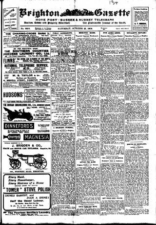 cover page of Brighton Gazette published on October 23, 1909