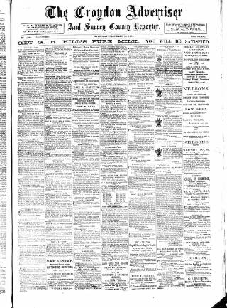 cover page of Croydon Advertiser and East Surrey Reporter published on February 19, 1898