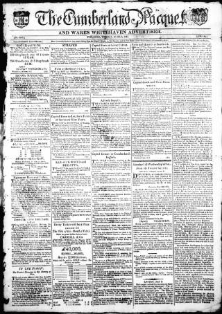 cover page of Cumberland Pacquet, and Ware's Whitehaven Advertiser published on July 18, 1815