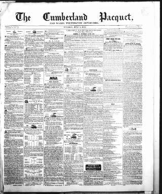 cover page of Cumberland Pacquet, and Ware's Whitehaven Advertiser published on June 1, 1841