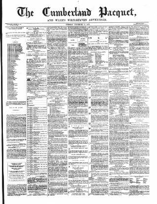 cover page of Cumberland Pacquet, and Ware's Whitehaven Advertiser published on December 11, 1877