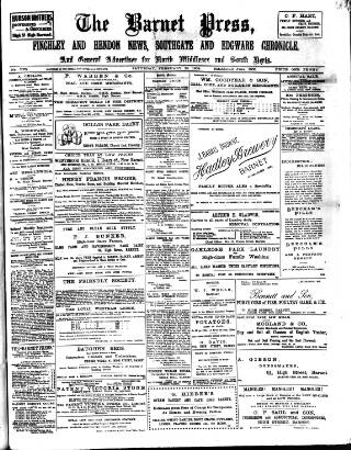 cover page of Barnet Press published on February 20, 1909