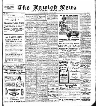 cover page of Hawick News and Border Chronicle published on July 22, 1927