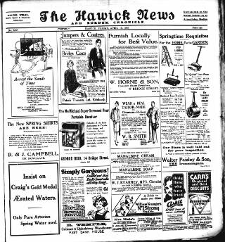 cover page of Hawick News and Border Chronicle published on April 19, 1929