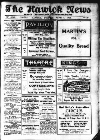 cover page of Hawick News and Border Chronicle published on June 4, 1943