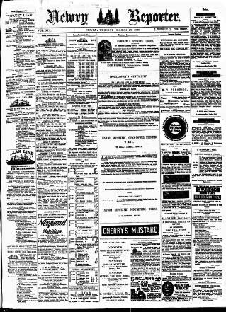 cover page of Newry Reporter published on March 23, 1886