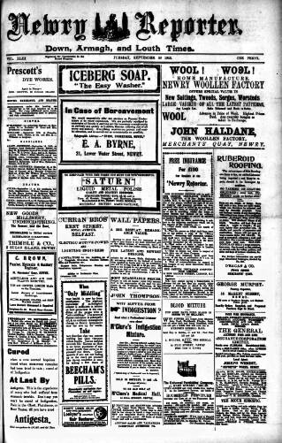 cover page of Newry Reporter published on September 20, 1910