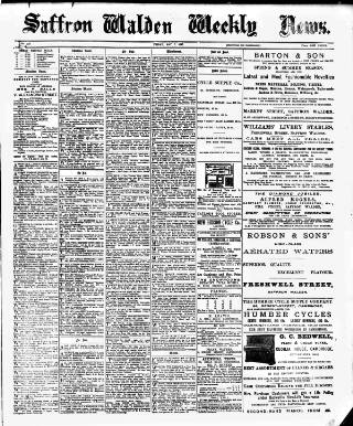 cover page of Saffron Walden Weekly News published on May 7, 1897
