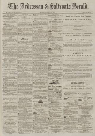 cover page of Ardrossan and Saltcoats Herald published on July 16, 1881
