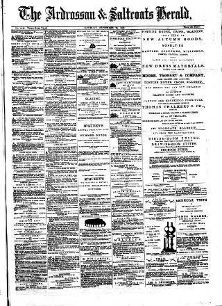 cover page of Ardrossan and Saltcoats Herald published on September 23, 1882