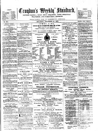 cover page of Croydon's Weekly Standard published on December 16, 1876