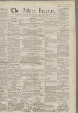 cover page of The Ashton Weekly Reporter, and Stalybridge and Dukinfield Chronicle published on October 19, 1867