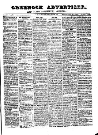cover page of Greenock Advertiser published on February 20, 1872