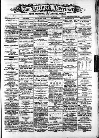 cover page of Greenock Advertiser published on November 24, 1881