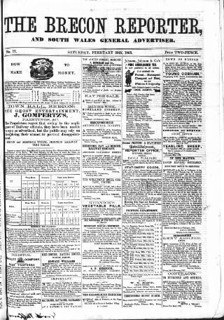 cover page of Brecon Reporter and South Wales General Advertiser published on February 25, 1865