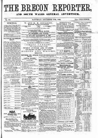 cover page of Brecon Reporter and South Wales General Advertiser published on December 29, 1866