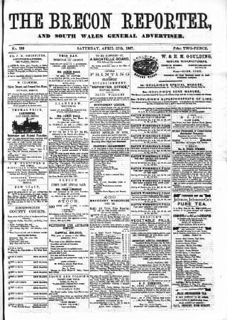 cover page of Brecon Reporter and South Wales General Advertiser published on April 27, 1867